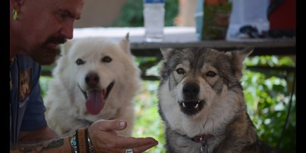 """""""Uncle"""" Rick with Shunka and Shadow"""
